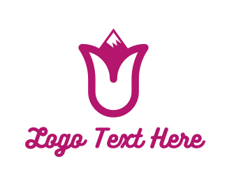 Tulip - Pink Tulip Mountain logo design