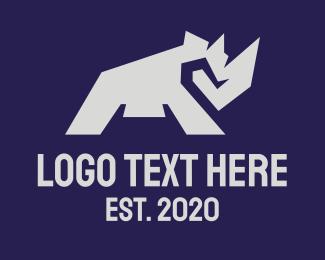 Strong - Gray Strong Rhino logo design