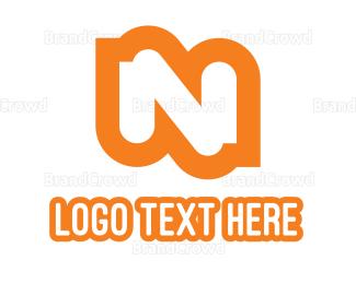Bold - Orange Bold N logo design