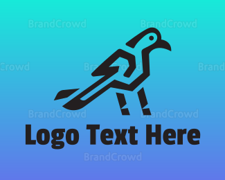 Messenger - Black Modern Crow logo design