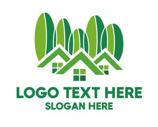 Lodge - Green Houses logo design