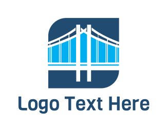 Golden Gate - Blue Bridge Structure logo design