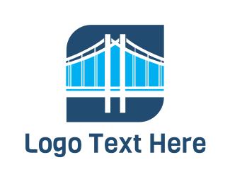 Truss - Blue Bridge Structure logo design
