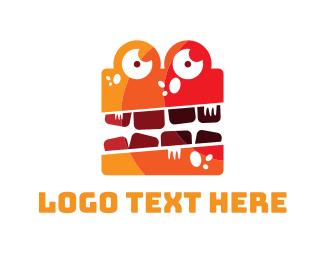 Alligator - Orange Monster logo design