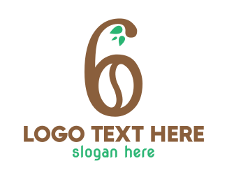 Number 6 - Brown Bean Number 6 logo design