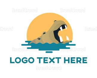 Zebra - Hippo Water Sun logo design