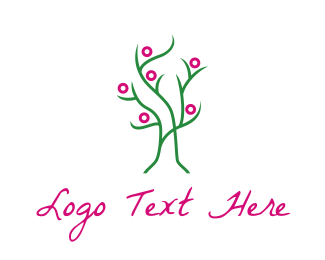 Relaxing - Pink Green Tree logo design
