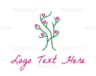 Cherry Tree - Pink Green Tree logo design