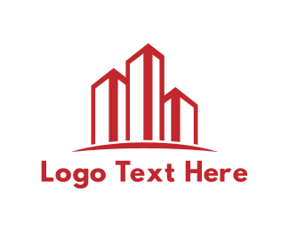 Contractor - Red Building Outline logo design