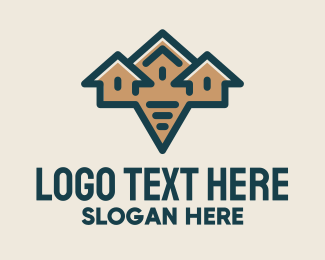 Village - Orange Village Speech Bubble logo design