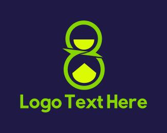 Hourglass - Green Number Eight logo design