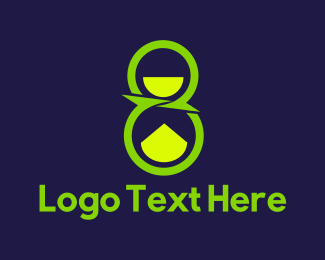 Hourglass - Green Number Eight logo design