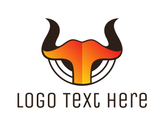 Ox - Gradient Hot Horns logo design