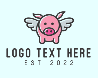 Flying - Cute Flying Pig logo design