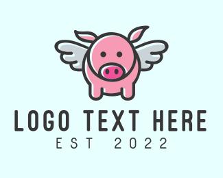 Bbq - Cute Flying Pig logo design