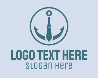Navy Blue - Nautical Anchor Necktie Circle  logo design