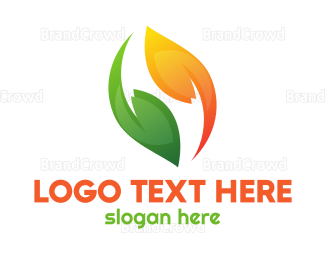 Green And Orange - Green Orange Leaves logo design