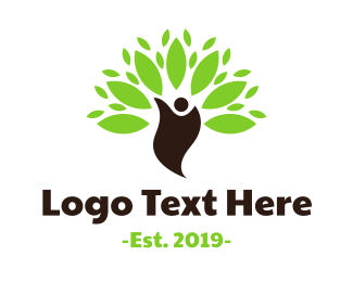 Human Tree - Green Environmentalist logo design