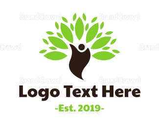 Human Tree - Green Environmentalist logo design