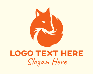 White Dog - Orange Fox logo design