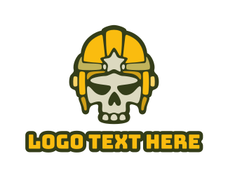 Yellow Helmet - Esport Gaming Skull Helmet  logo design