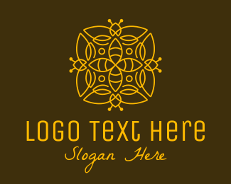 Black Insect - Golden Bee Decoration logo design