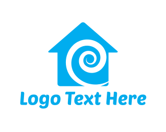 """Blue Swirl House"" by LogoBrainstorm"