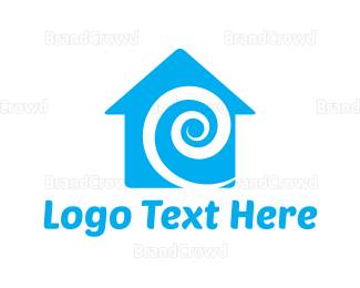Plumb - Blue Swirl House logo design
