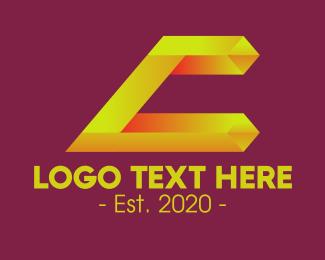 Three-dimensional - Yellow Crystal Gem Letter C logo design