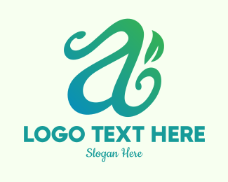 Calligraphy - Organic Herb Letter A logo design