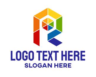 Bisexual - Geometric Rainbow Letter R  logo design