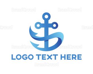 Sailing - Blue Anchor logo design