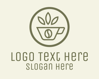 Bean - Coffee Bean Leaves logo design