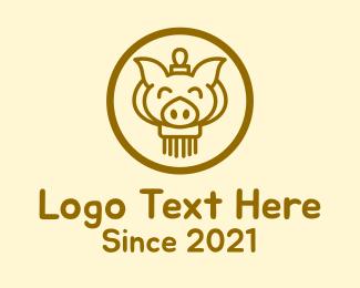 Smile - Smiling Pig Lantern logo design