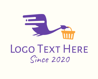 Basket - Flying Egret Shopping Delivery logo design