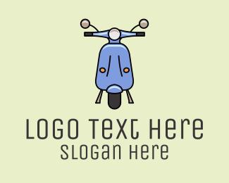 Rental - Blue Scooter Moped logo design