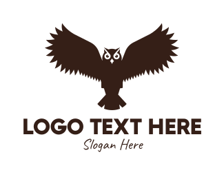 Aviary - Brown Flying Owl logo design