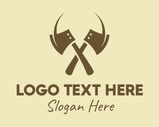 Woodsman - Brown Axe Weapon logo design