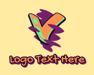 Graffiti  Art - Graffiti Art Letter V logo design