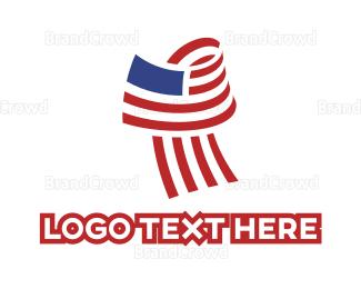 American Flag - USA Flag Letter T logo design