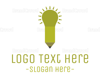 Bulb - Pencil Light  logo design