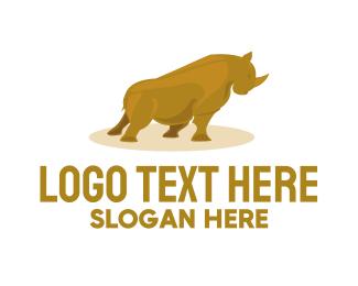 Rhinoceros - Gold Rhino logo design