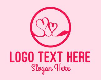 Hearts - Pink Twin Hearts logo design