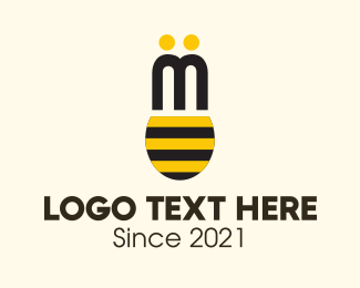 Yellow Insect - Bee Wings logo design