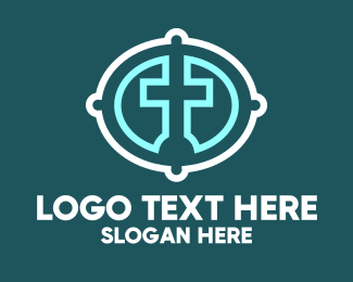 Bible Study - Christian Cross Badge logo design