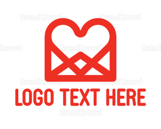 Messaging - Heart Message logo design