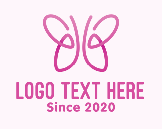 Lungs - Pink Butterfly Lungs logo design