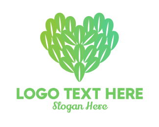 Nature Lover - Nature Leaf Heart  logo design