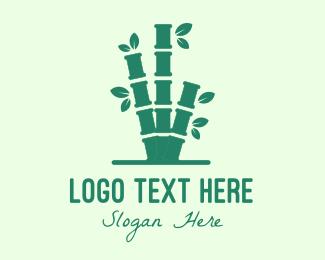 Wellness Center - Green Bamboo Tree logo design