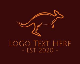 Wombat - Minimalist Brown Kangaroo logo design
